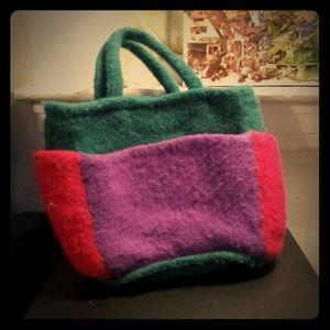 1980's boiled wool handbag w/side pockets